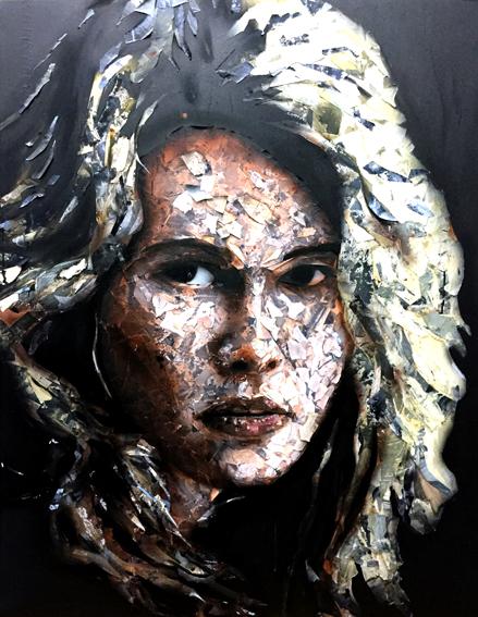 Claudia, 2016. Trozos de papel pintados y encolados en lienzo. 146 X 114 CM