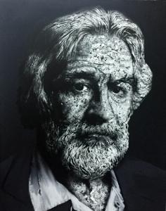 De Niro, 2018. Acrílico, trozos de papel encolados en lienzo. 146 x 14 cm.