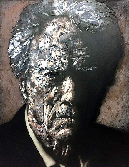 Eastwood, 2017. Trozos de papel pintados y encolados en lienzo. 146 x 114 cm