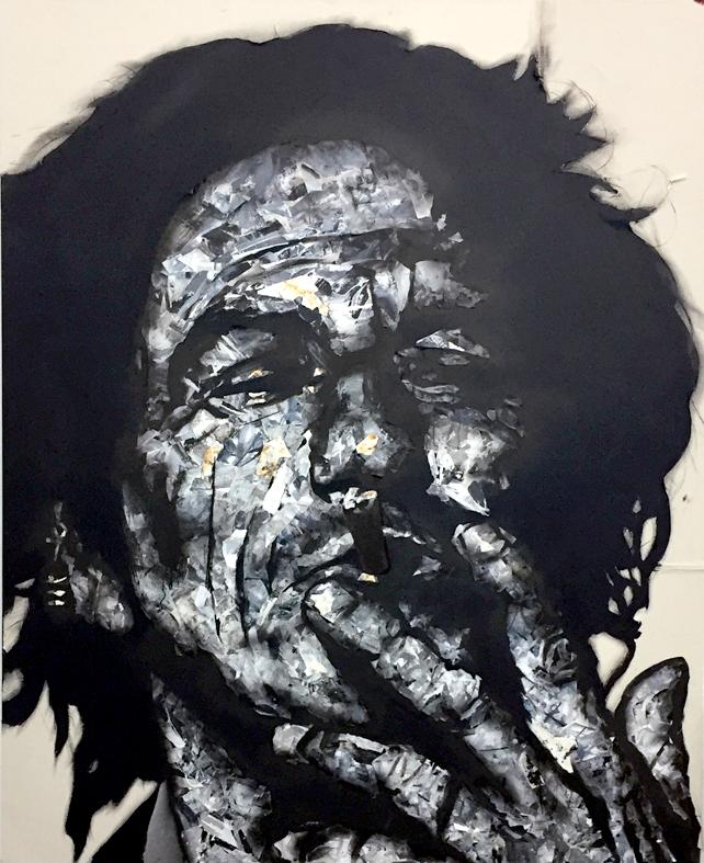 Keith Richards, 2016. Trozos de papel pintados y encolados en lienzo. 200 x 160 cm